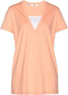 Удлиненная футболка с эффектом два в одном (персиковый) Bonprix