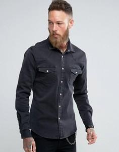 Черная джинсовая рубашка стандартного кроя ASOS - Черный