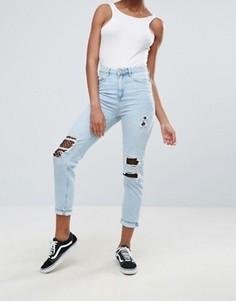Джинсы в винтажном стиле c сетчатыми вставками New Look - Синий