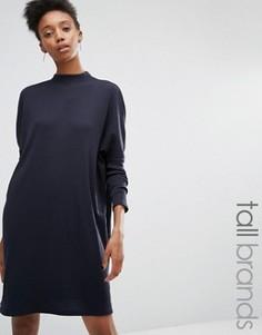 Платье с высокой горловиной и разрезами Daisy Street Tall - Темно-синий
