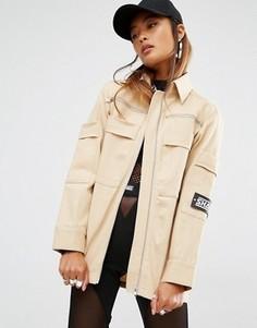 Oversize-куртка в стиле милитари Shade London - Кремовый