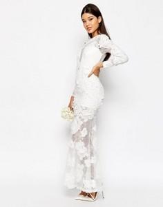 Свадебное платье макси с цветочным кружевом 3D ASOS - Белый