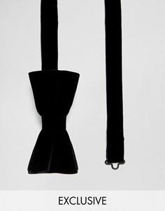 Бархатный галстук-бабочка Noose & Monkey - Черный