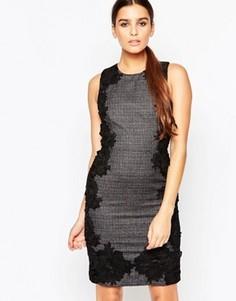 Твидовое платье‑футляр с кружевными накладками Adelyn Rae - Мульти