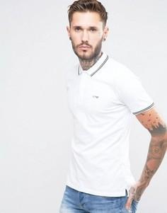 Белая эластичная узкая футболка-поло с окантовкой Armani Jeans - Белый