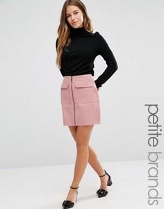 Мини-юбка с карманами на молнии спереди Missguided Petite - Розовый