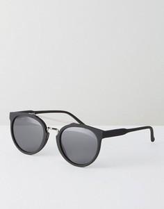 Черные круглые солнцезащитные очки с темно-серой планкой на переносице ASOS - Черный