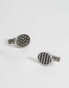 Серебристые запонки с шевронным узором Emporio Armani - Серебряный