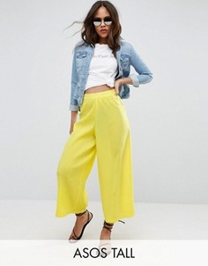 Плиссированная юбка-шорты ASOS TALL - Желтый