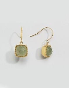 Серьги-подвески с полудрагоценным камнем Pieces Karina - Серебряный