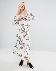 Комбинируемая юбка миди с запахом и цветочной вышивкой J.O.A - Белый J.O.A.