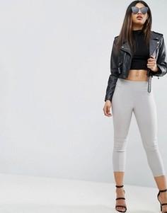 Укороченные зауженные брюки с завышенной талией ASOS - Серебряный