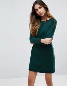 Платье с кружевной отделкой рукавов Vila - Зеленый