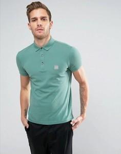 Зеленая узкая футболка-поло с логотипом BOSS Orange by Hugo Boss Pavlik - Зеленый