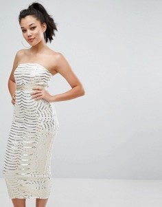 Премиум платье-бандо миди с кружевом и пайетками PrettyLittleThing - Белый