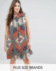 Расклешенное платье-рубашка без рукавов с принтом Alice & You - Мульти