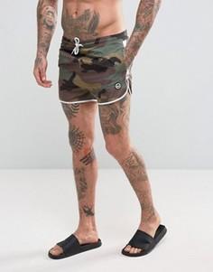 Камуфляжные шорты для плавания с отделкой лентой Hype - Черный