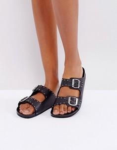 Кожаные сандалии в стиле вестерн с заклепками SixtySeven - Черный