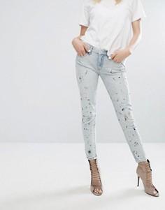Зауженные рваные джинсы с брызгами краски Blank NYC - Синий