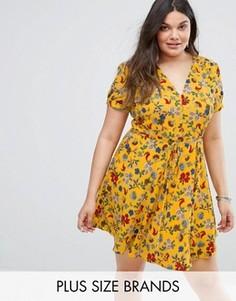 Чайное платье на пуговицах с цветочным принтом Alice & You - Желтый