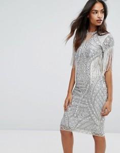 Платье-футляр с отделкой и бахромой A Star Is Born - Серебряный