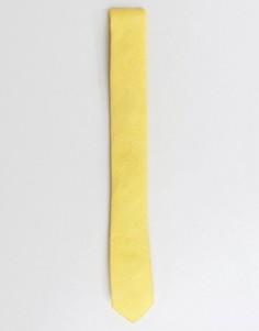 Желтый узкий фактурный галстук ASOS - Желтый