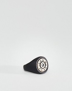 Черное матовое кольцо-печатка Icon Brand - Черный