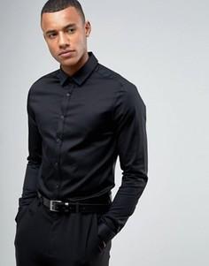 Черная сатиновая рубашка скинни с планкой на пуговицах ASOS Wedding - Черный