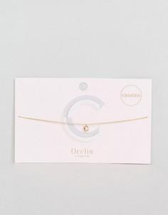 Ожерелье-чокер из цепочки с подвеской в виде буквы C Orelia - Золотой