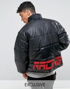 Черная дутая куртка с принтом на спине Reclaimed Vintage Inspired - Черный