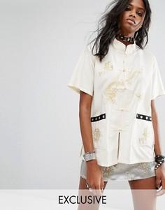 Рубашка с вышивкой и отделкой люверсами Reclaimed Vintage - Кремовый
