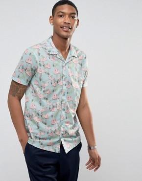 Рубашка с короткими рукавами, отложным воротником и принтом LDN DNM - Синий