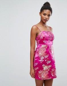 Жаккардовое платье-комбинация мини New Look - Розовый