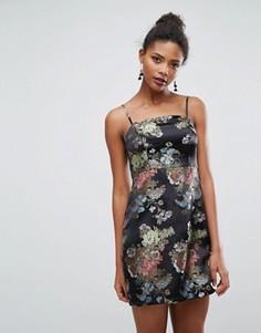 Жаккардовое платье-комбинация мини New Look - Черный