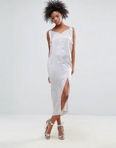 Атласное платье-комбинация Neon Rose - Серый