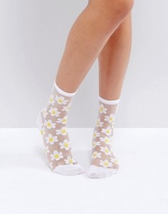 Носки с цветочным принтом Monki - Белый