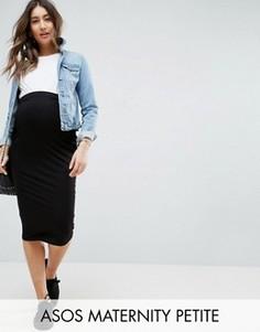 Трикотажная юбка-карандаш с посадкой над животом ASOS Maternity PETITE - Черный