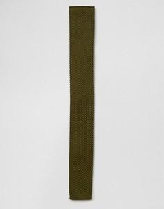 Вязаный галстук цвета хаки 7X - Зеленый
