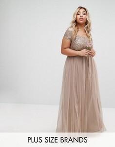 Платье макси с пайетками и юбкой из тюля Lovedrobe Luxe - Серый