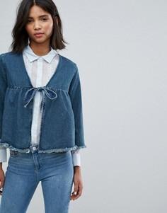 Укороченная джинсовая куртка с бантом Lost Ink - Синий