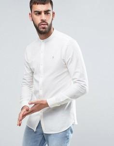 Облегающая оксфордская рубашка бежевого цвета с воротником с застежкой на пуговицах Farah Cliffords - Белый