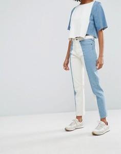 Джинсы в винтажном стиле с контрастными вставками Waven Elsa - Синий