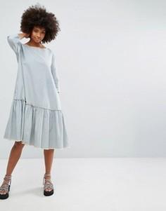 Платье в полоску с оборкой по нижнему краю Waven - Синий