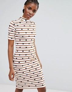 Облегающее платье миди в полоску с высоким воротником Pieces - Белый