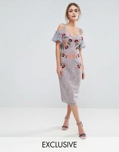Кружевное платье миди с вышивкой, контрастными бретельками и завязками на плечах Hope & Ivy - Синий