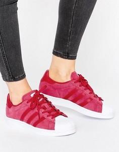 Розовые замшевые кроссовки adidas Originals Superstar - Розовый