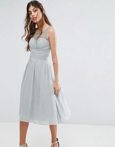 Платье миди с отделкой Little Mistress - Зеленый