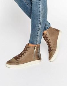 Серо-коричневые высокие нубуковые кроссовки Juicy Couture - Серый