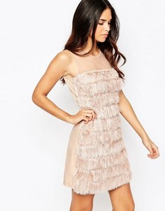 Цельнокройное платье с бахромой Rare - Розовый