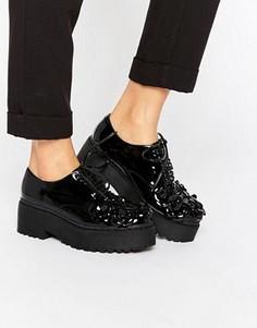 Лакированные туфли на платформе со шнуровкой и цветочной отделкой Jeffrey Campbell Baird - Черный